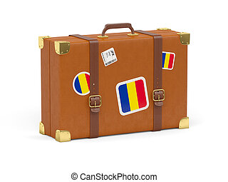Suitcase with flag of romania