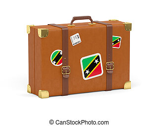 Suitcase with flag of saint kitts and nevis
