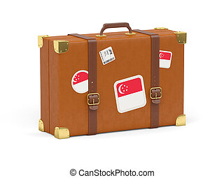Suitcase with flag of singapore