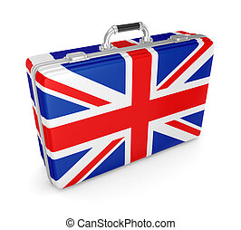 Suitcase with flag of UK.