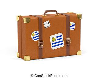 Suitcase with flag of uruguay