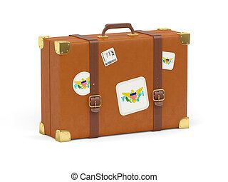 Suitcase with flag of usa virgin islands