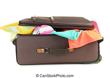 Suitcase with full of clothes