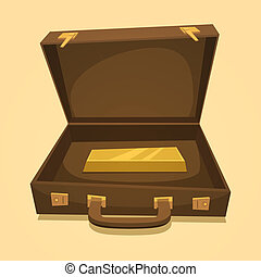 Suitcase with gold bullion isolated, business concept vector...