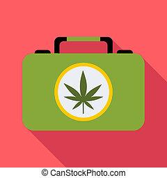 Suitcase with marijuana icon, flat style