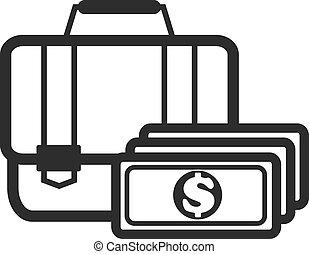 Suitcase with Money Black Icon