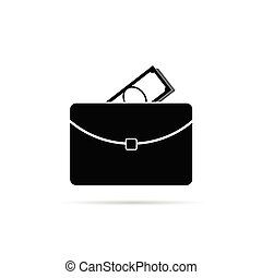 suitcase with money black vector