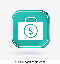 suitcase with money. Color square icon