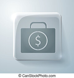 suitcase with money. Glass square icon