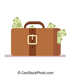 Suitcase with money. Portfolio of a rich man. Bribe or flight with money. Flat vector illustration isolated on background.