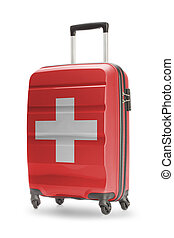 Suitcase with national flag on it - Switzerland - Suitcase...