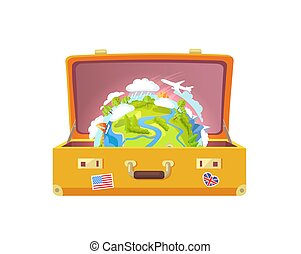 Suitcase with Stickers, Globe Vector Illustration