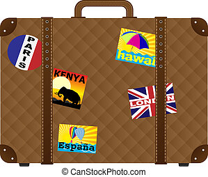 Suitcase With Stickers - Vintage Brown Trunk With Stickers -...
