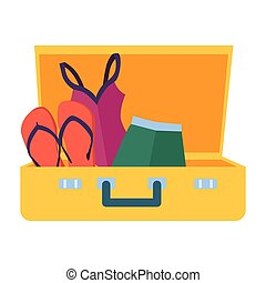 Suitcase with things on a white background. Vector illustration.