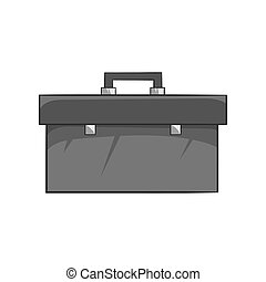 Suitcase with tools icon, black monochrome style