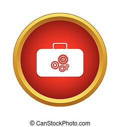 Suitcase with tools icon, simple style