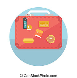 Suitcase with travel stickers. Business travel concept