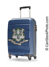 Suitcase with US state flag on it - Connecticut