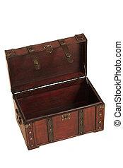 open treasure case on white background