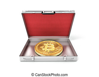 suitcase.3d, ouvert, bitcoin, illustration