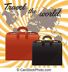 Suitcases. Against the background of the world map.