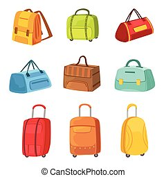 Suitcases And Other Baggage Bags Set Of Icons. Bright Color...