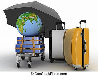 Suitcases, globe and umbrella