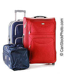 Suitcases isolated on white - Luggage consisting of travel...