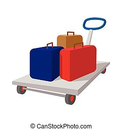 Suitcases on a cart cartoon icon