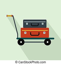 Suitcases on a cart flat icon