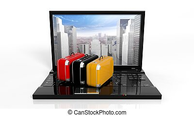 Suitcases on black laptop keyboard with skyscrapers on...