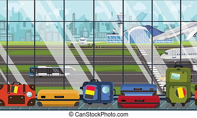 Cartoon animation of an airport