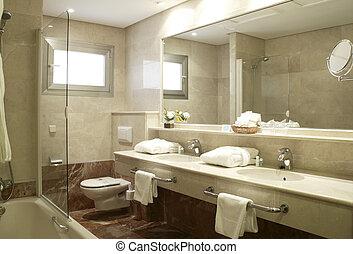 suite, badezimmer, hotel