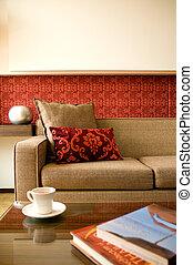 suite hotel, sala de estar, com, bonito, projeto interior