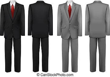 suits., állhatatos, fekete, szürke, vector.