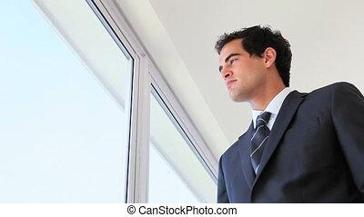 suivant, fenêtre, utilisation, homme affaires, tablette, informatique