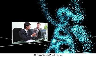 suivant, p, vidéos, business, clair
