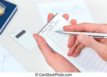 suivant, planification, liste, année