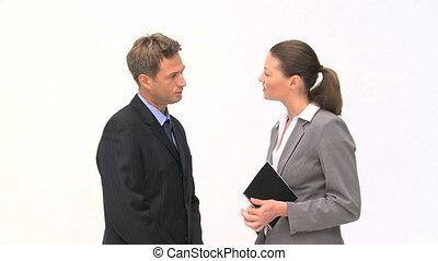suivant, sur, conversation, collègue, réunion