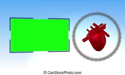 suivant, vidéo, coeur, monde médical