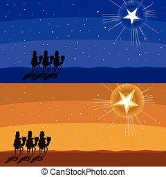 suivre, étoile, briller