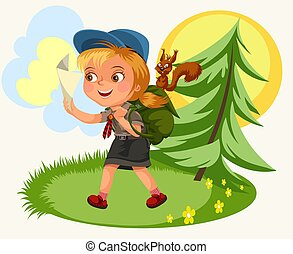 suivre, dessin animé, gosses, forêt, compas