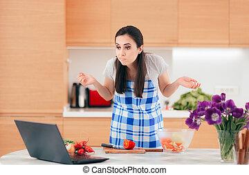 suivre, ordinateur portable, vidéo, femme, ligne, cuisine, recette