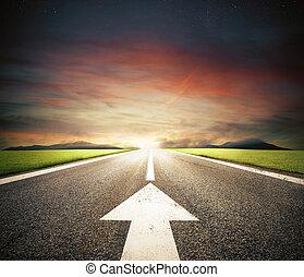 suivre, route, reussite