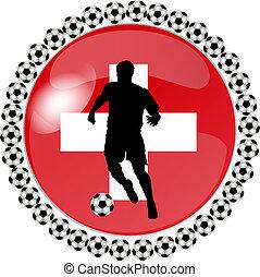 suiza, botón, futbol