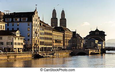 suiza, edificios, -, terraplén, zurich