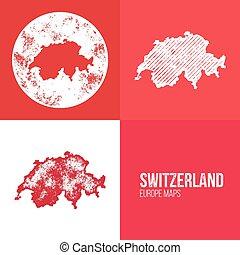 suiza, grunge, retro, mapa