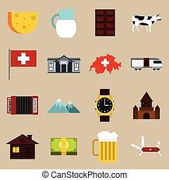 suiza, iconos, conjunto, plano, estilo