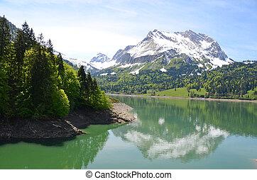 suiza, lago, alpino