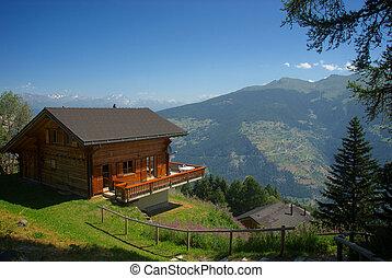 suiza, montaña, chalet, les, dos puntos